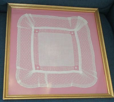 Antique Wedding Handkerchief Fine Lace Framed  Hanky