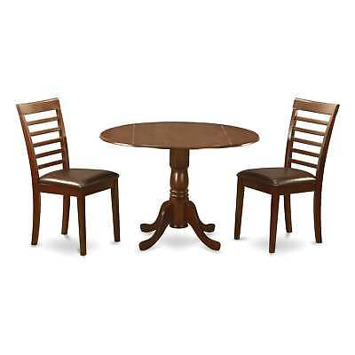Mahogany Round Kitchen Table and 2 Chairs 3-piece Dining Set