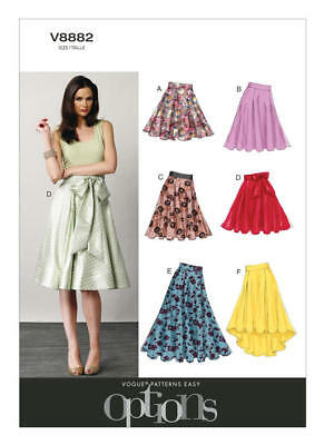 Vogue Sewing Pattern 8882 Misses Sz 6-14 Flared Skirts With Pleats & Waistbands