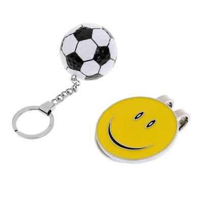 Smile Face Magnetic Hat Clip Golf Ball Marker Plus Football Keychain Keyring