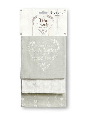 Cooksmart Food for Thought Tea Towels Set of 3 Kitchen Dining Hearts Cotton