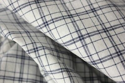 Antique European duvet cover comforter blue / white  plaid woven cotton 1920