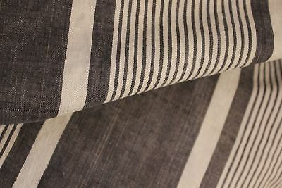 Vintage French Ticking fabric blue stripe Provence material upholstery pillow