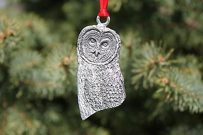 Lead Free Pewter Barn Owl Head Ornament Made in USA Christmas holiday gift - NEW