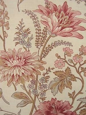 Antique French linen floral fabric curtain drape c1910 botanical fabric GORGEOUS