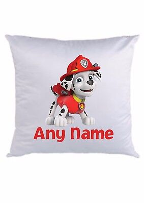 PERSONALISED CUSHION COVER  * ANY NAME ADDED * 16 x 16  * PAW PATROL MARSHALL