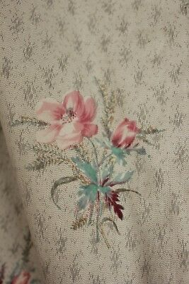 Antique curtain c 1860 French faded floral STUNNING fabric material old