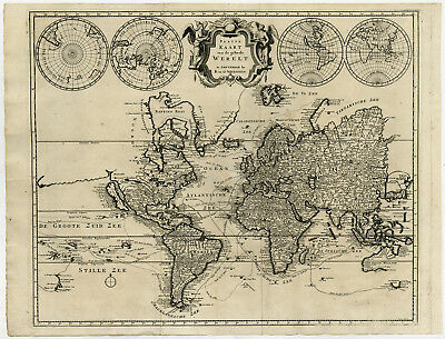 Antique Map-WORLD MAP-VOYAGE-ROUTE-Wetstein-Suikers-1728