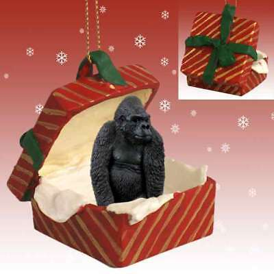 Gorilla RED Gift Box Holiday Christmas ORNAMENT