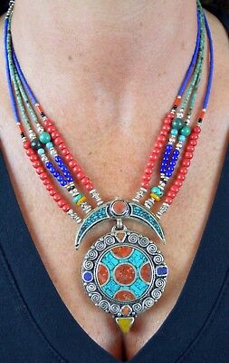 Stunning Vintage Lapis, Turqoise & Carnelion Stone Tribal Necklace from Morocco