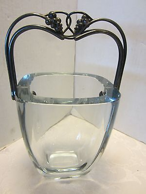 """Mid Century Stromberg GLASS Sweden Ice bucket Sterling Silver GRAPES HANDLE 10""""T"""