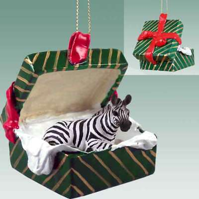 Zebra Green Gift Box Holiday Christmas ORNAMENT