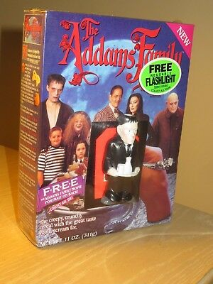 VINTAGE Cereal  BOX 1991 THE ADDAMS FAMILY Full Shrink Wrap w LURCH Flashlight