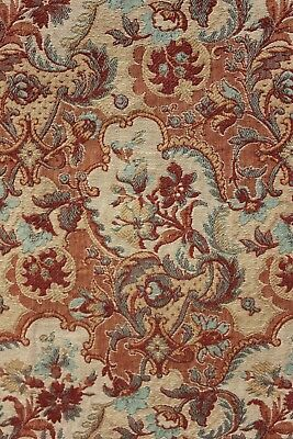 Antique French Art & Crafts bed curtain woven jacquard weave fabric c 1885 RIGHT