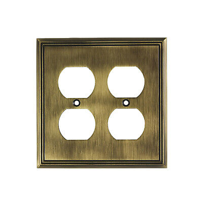 Metal Wall Plate Receptacle Plug Outlet Cover Contemporary Antique Gold 4 Gang