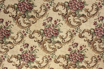 Vintage French tapestry woven curtain w/ trim c1940 heavy drape intact ! panel 1