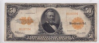 United States 1922 $50 Gold Certificate Note FR#1200a B119737
