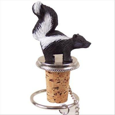 Skunk Hand Painted Resin Figurine Wine Bottle Stopper