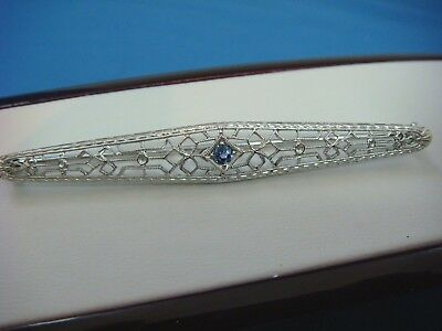 Striking Antique Filigree Art-Deco Brooch With Sapphire 3.3 Grams 14K White Gold