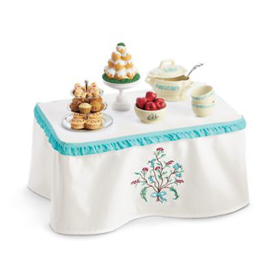 "American Girl CAROLINE TABLE & TREATS for 18"" Doll Wood Furniture Caroline's NEW"