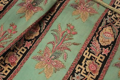 Antique French Japonisme valance c 1870 green printed textile bed hanging