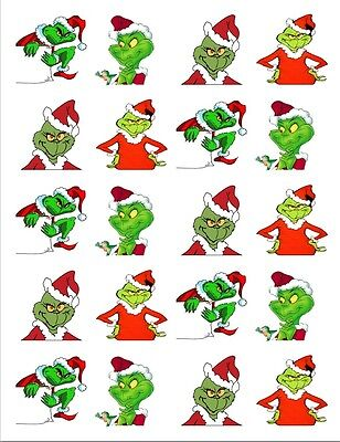 """20  2"""" x2"""" Glossy Square Stickers/Seals Grinch Christmas Buy 3 get 1 free(s103)"""