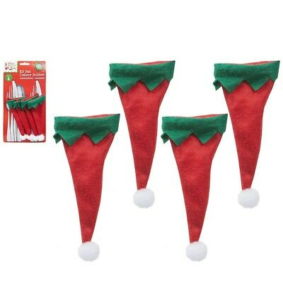 4 Elf Hat Cutlery Holders Christmas Forks Spoons Table Decoration Bottle Toppers