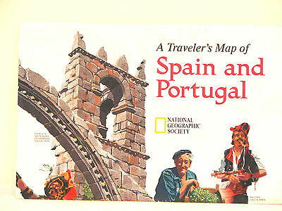 Vintage 1998 National Geographic Map of Spain and Portugal