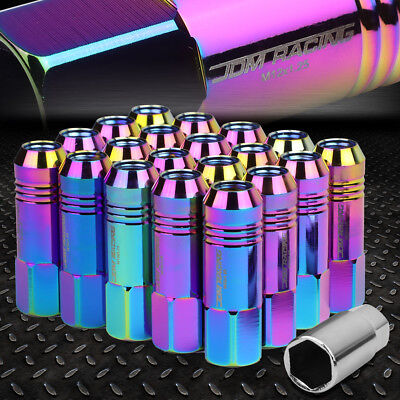 JDM OPEN-END ALUMINUM NEO CHROME WHEEL LUG NUTS 20PCS/SET+KEY M12X1.25 20MMx60MM