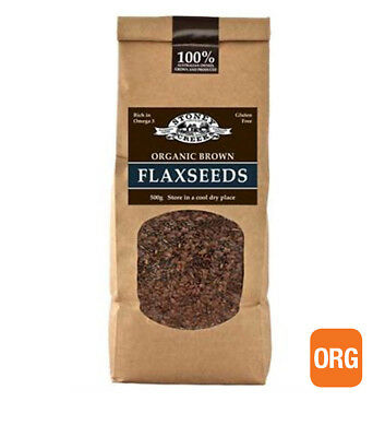 3 x 500g STONEY CREEK Organic Brown Flaxseeds 1.5kg ( whole seeds / uncrushed )