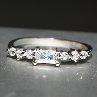 Woman's 925 Silver Filled White Sapphire Birthstone Wedding Band Heart Ring Gift