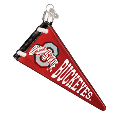 """""""Ohio State Pennant"""" (64806) Old World Christmas Glass Ornament w/ OWC Box"""