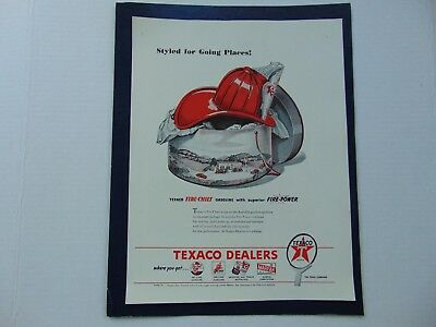 1946-STYLED FIRE HAT TEXACO FIRE-CHIEF GASOLINE-vintage print ad -A11