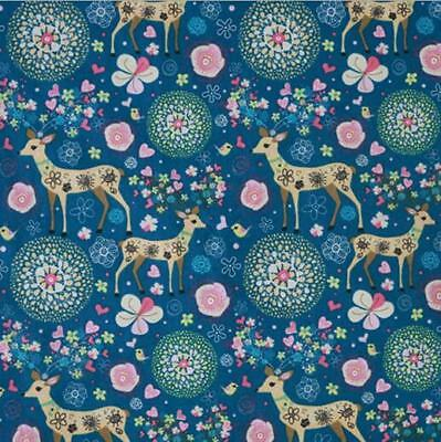 Christmas Deer Printing Pattern Cloth Natural Cotton Linen Fabric Sewing DIY