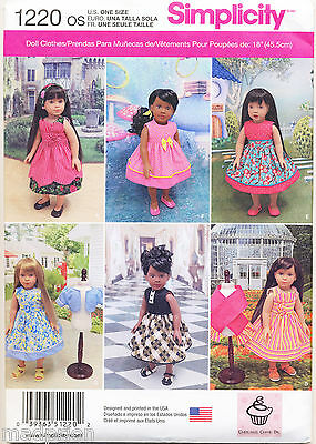 """Simplicity Sewing Pattern 1220 18"""" Doll Clothes - 6 Styles Dresses, Jacket, Wrap"""