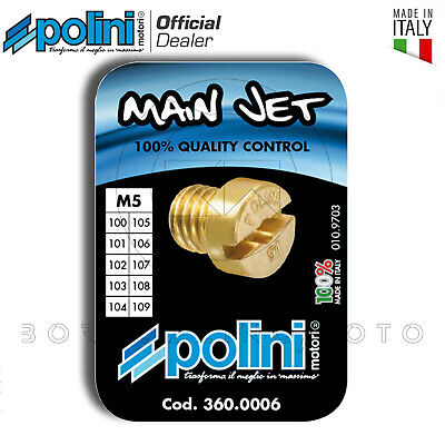 KIT 10 GETTI POLINI PER CARBURATORE DELL'ORTO M5 5mm DAL 100 AL 109
