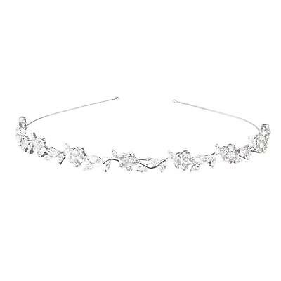 Hobees Women's Wedding Crystal Bridal Flower & Leaves Crown Headband Tiara...