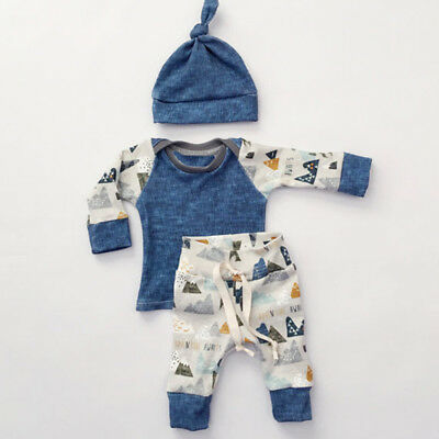 3pcs Newborn Toddler Baby Boys Girls T-shirt Tops+Pants+Hat Outfits Set Clothes