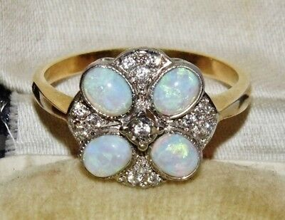 Art Deco 9ct Yellow Gold on Silver Opal Cabochon Ladies Cluster Ring - size N
