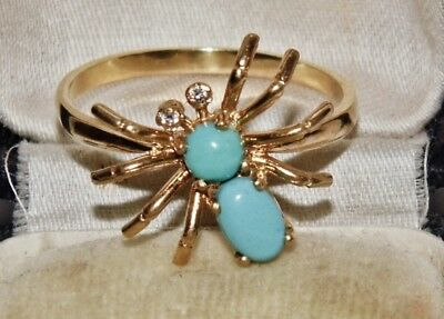 Victorian 9ct Yellow Gold on Silver Natural Turquoise Spider Novelty Ring size P