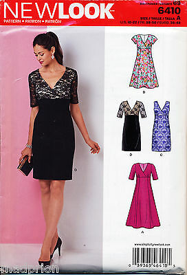 New Look Sewing Pattern 6410 Misses 10-22 Flared Or Slim Dress, Mock Wrap Bodice
