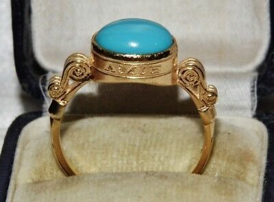 Edwardian 9ct Gold on Silver Natural Turquoise Amet Amie Friendship Ring size Q