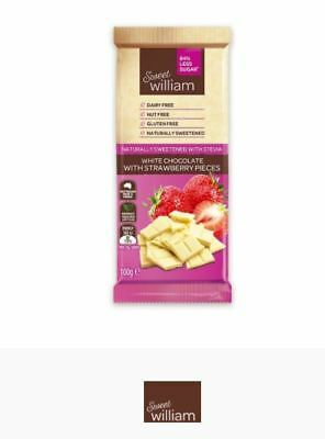 12 x 100g SWEET WILLIAM Dairy Free Strawberry White Chocolate (Stevia sweetened)