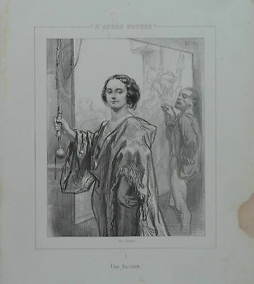 """GAVARNI ENGRAVING LITHOGRAPHY ORIGINAL 19th """"D'AFTER NATURE """" N°1"""