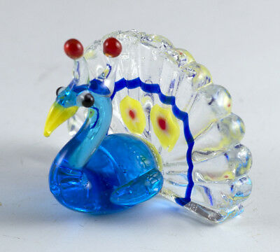 "Hand Blown Art Glass Miniature Peacock Figurine 1""H Dark Blue"