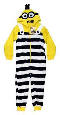 Despicable Me Minion Convict Childrens Soft Hooded Sleepsuit Pyjamas Kids Sizes