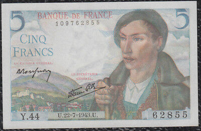 5 Francs from France 22.7.43 Unc G5