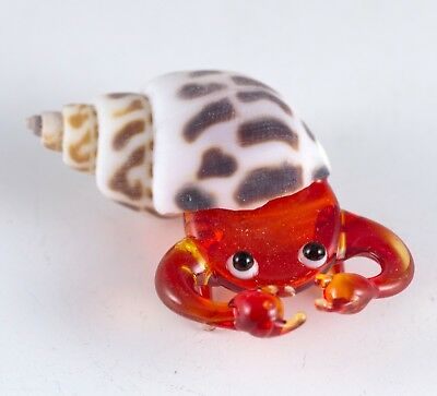 Miniature Hand Blown Glass Red Hermit Crab In Natural Shell Figurine New!