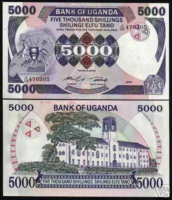 Uganda 5,000 5000 Shillings P24 1986 Crane Unc Currency Money Bill Bank Note