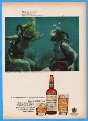 1967 Canadian Club Whiskey SCUBA Skin Diving Must A Girl Really Prove Ad